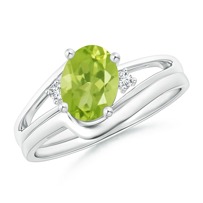 Angara Peridot Wedding Rings Sets in White Gold drLWGoN7s