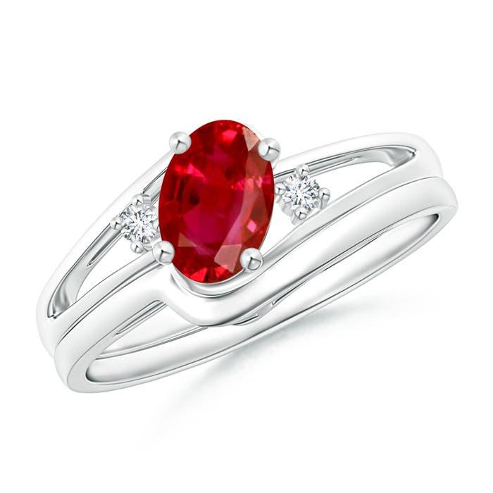 Split Shank Ruby Engagement Ring with Wedding Band - Angara.com