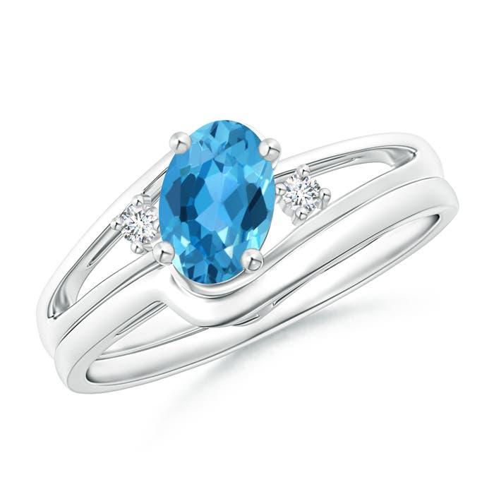 Split Shank Swiss Blue Topaz Engagement Ring with Wedding Band - Angara.com