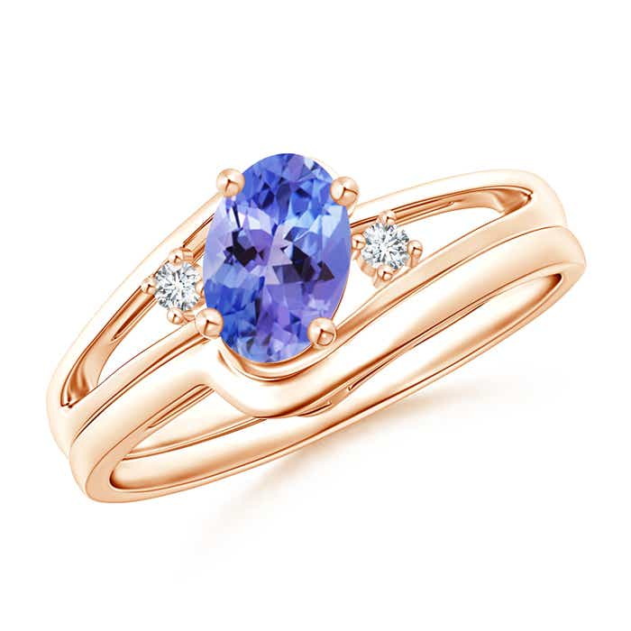 Solitaire Natural Tanzanite Engagement Ring Set Without