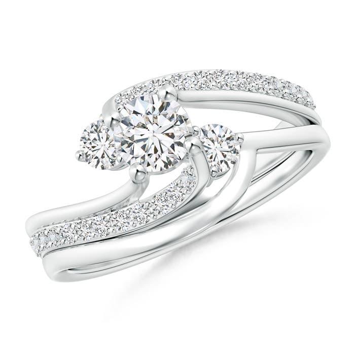 Shared Prong-Set Diamond Three Stone Bypass Bridal Set - Angara.com