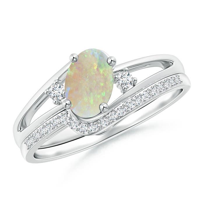 Oval Opal and Diamond Wedding Band Ring Set - Angara.com