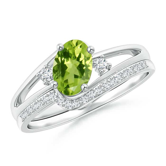 Oval Peridot and Diamond Wedding Band Ring Set - Angara.com