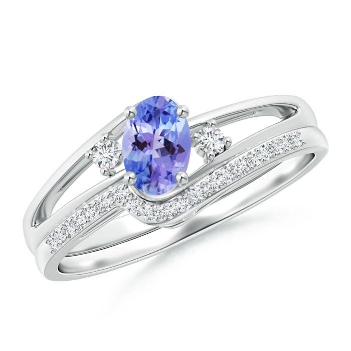 Oval Tanzanite and Diamond Wedding Band Ring Set | Angara