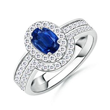 Sapphire Bridal Ring Set with Diamond Halo - Angara.com