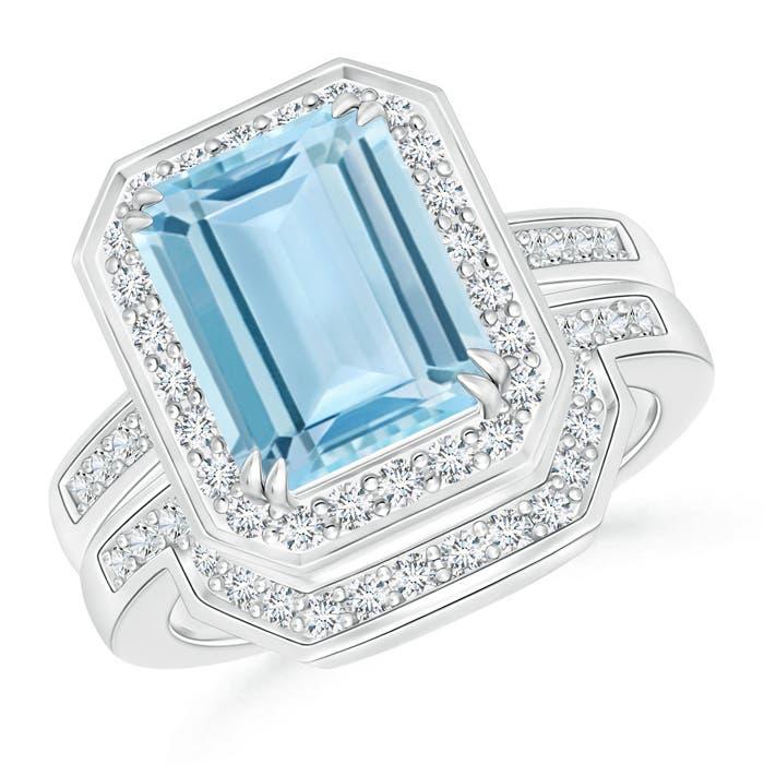 Emerald Cut Aquamarine Bridal Ring Set with Diamond Band - Angara.com