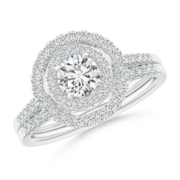 Round Diamond Floating Double Halo Bridal Set - Angara.com