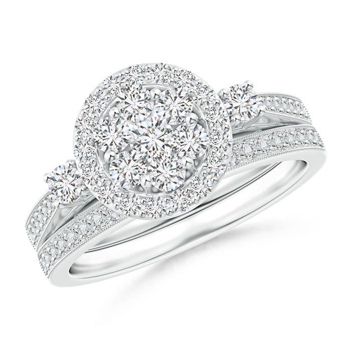 Round Diamond Cluster Halo Bridal Set - Angara.com