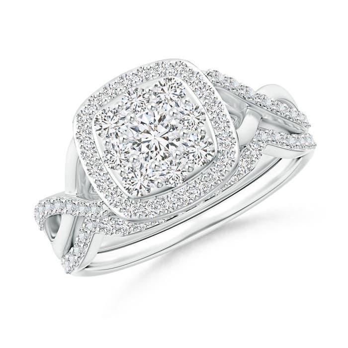 Entwined Infinity Diamond Cushion Cluster Halo Bridal Set  - Angara.com