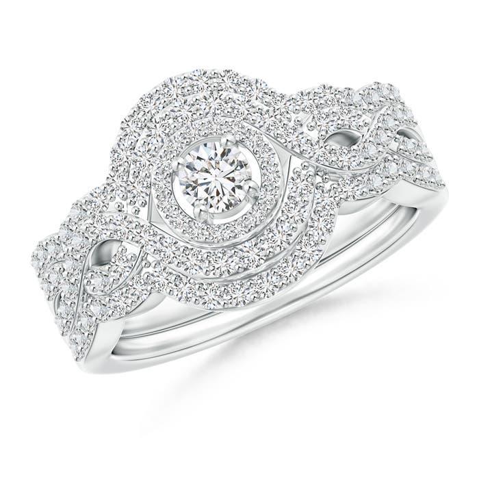 Crossover Infinity Diamond Triple Halo Bridal Set - Angara.com
