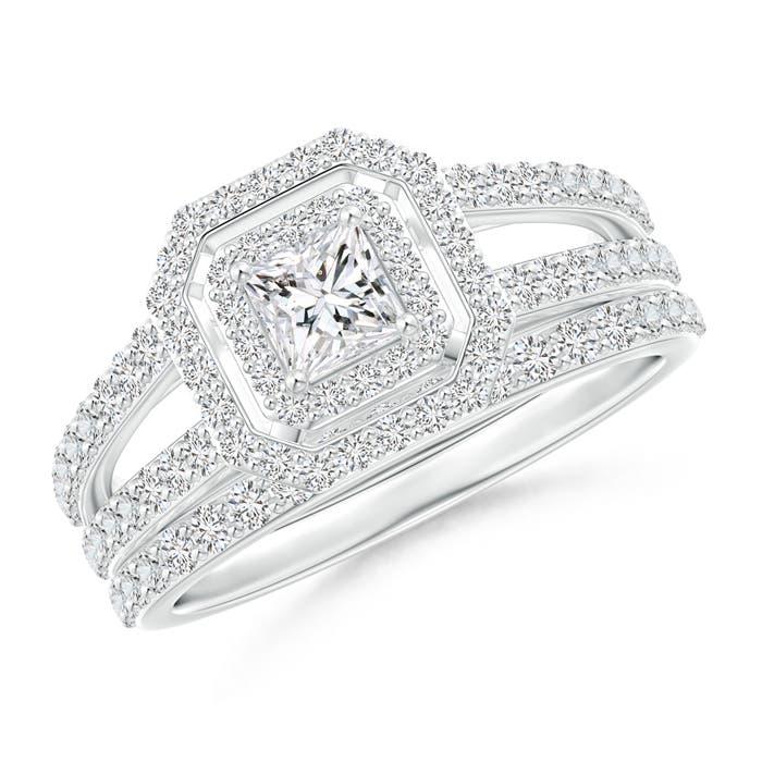 Princess-Cut Diamond Octagon Double Halo Bridal Set - Angara.com