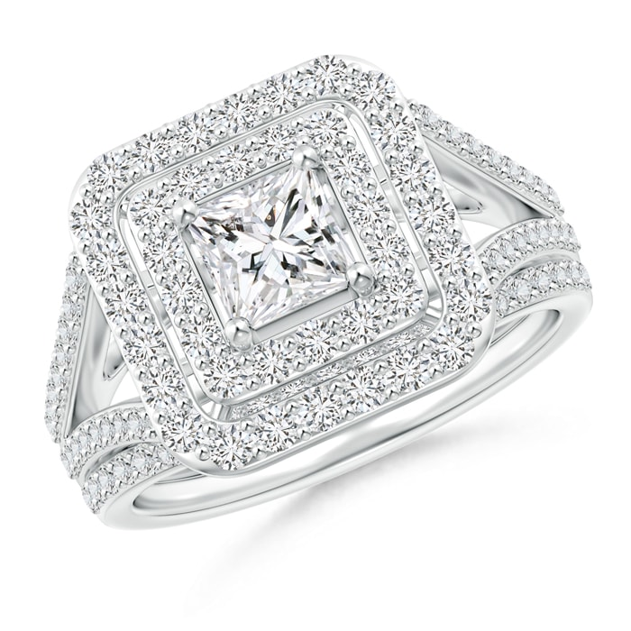 Floating Princess-Cut Diamond Double Halo Bridal Set - Angara.com