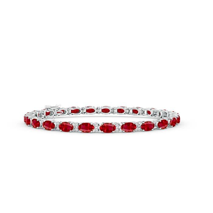 Classic Oval Ruby and Diamond Tennis Bracelet