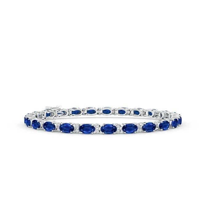 Classic Oval Blue Sapphire and Diamond Tennis Bracelet
