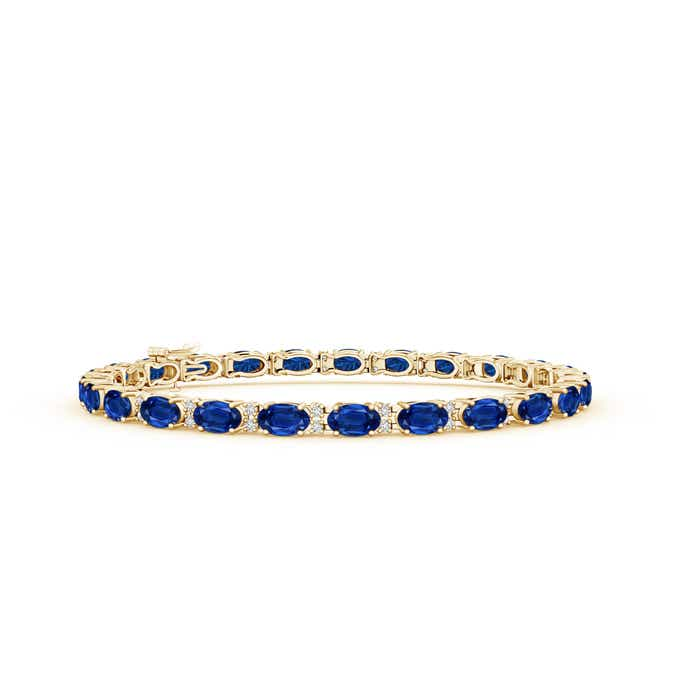 Classic Oval Blue Sapphire and Diamond Tennis Bracelet