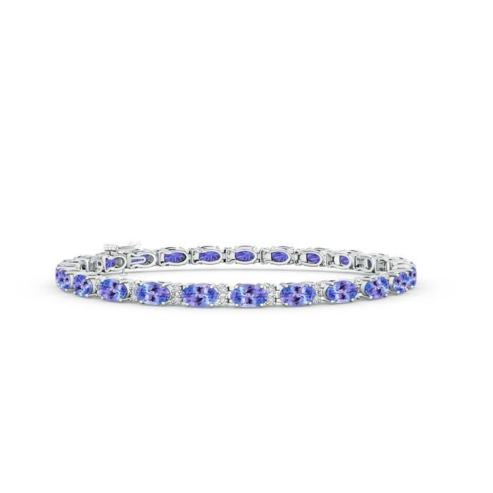 Classic Oval Tanzanite and Diamond Tennis Bracelet