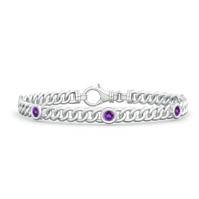 Bezel Set Curb Chain Link Amethyst Bracelet