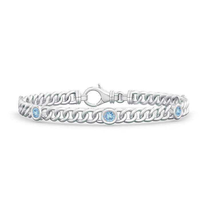 Bezel Set Curb Chain Link Aquamarine Bracelet