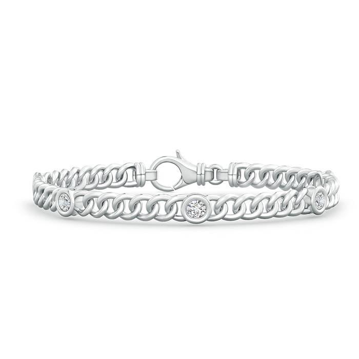 Bezel Set Curb Chain Link Diamond Bracelet