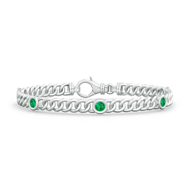 Bezel Set Curb Chain Link Emerald Bracelet