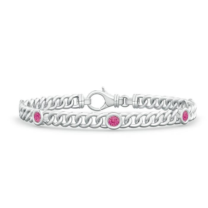 Bezel Set Curb Chain Link Pink Sapphire Bracelet