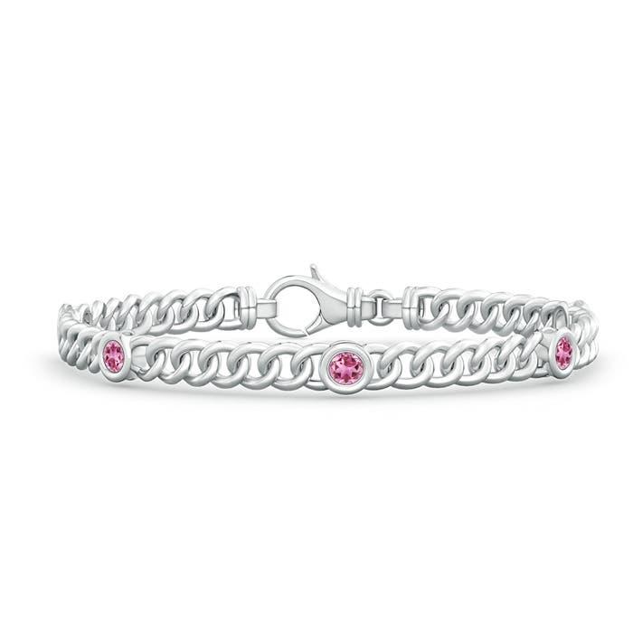 Bezel Set Curb Chain Link Pink Tourmaline Bracelet