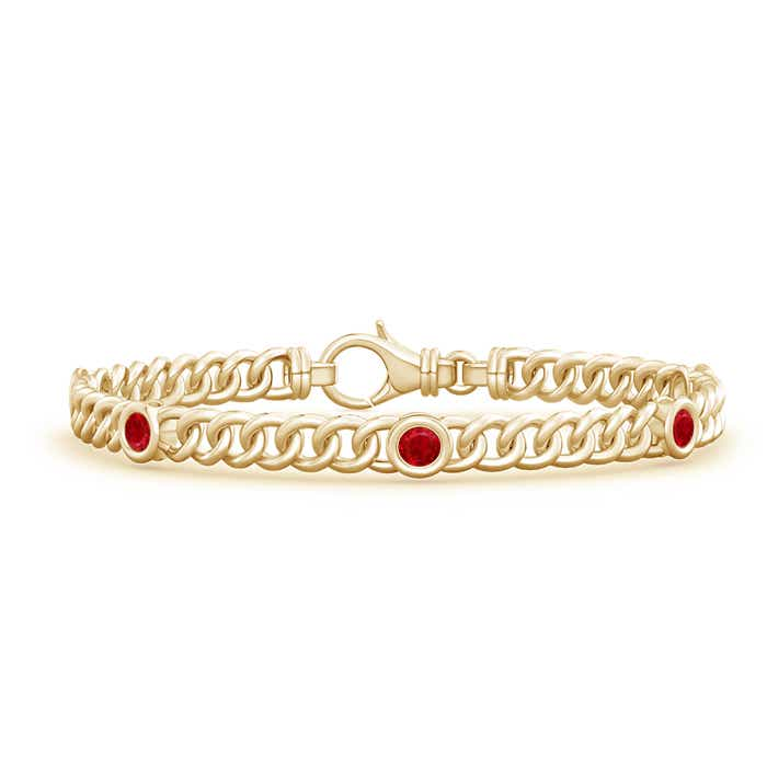 Bezel Set Curb Chain Link Ruby Bracelet