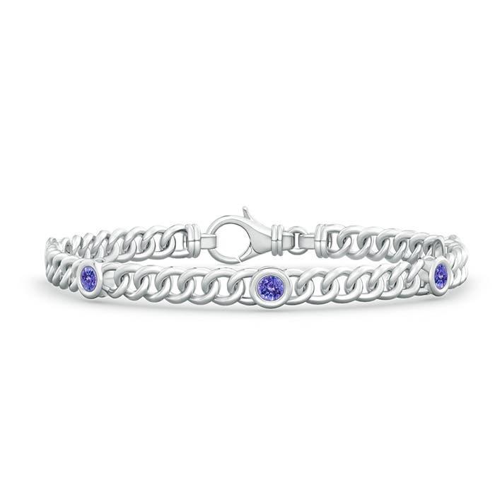 Bezel Set Curb Chain Link Tanzanite Bracelet
