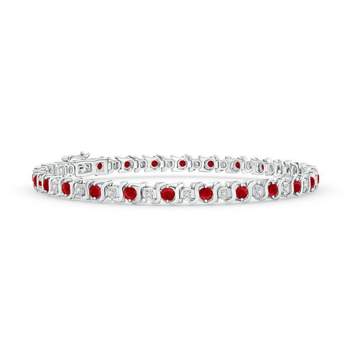 S Curl Ruby and Diamond Tennis Bracelet
