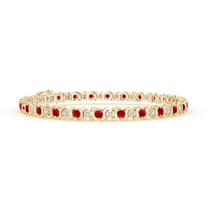 S Curl Ruby and Diamond Tennis Bracelet