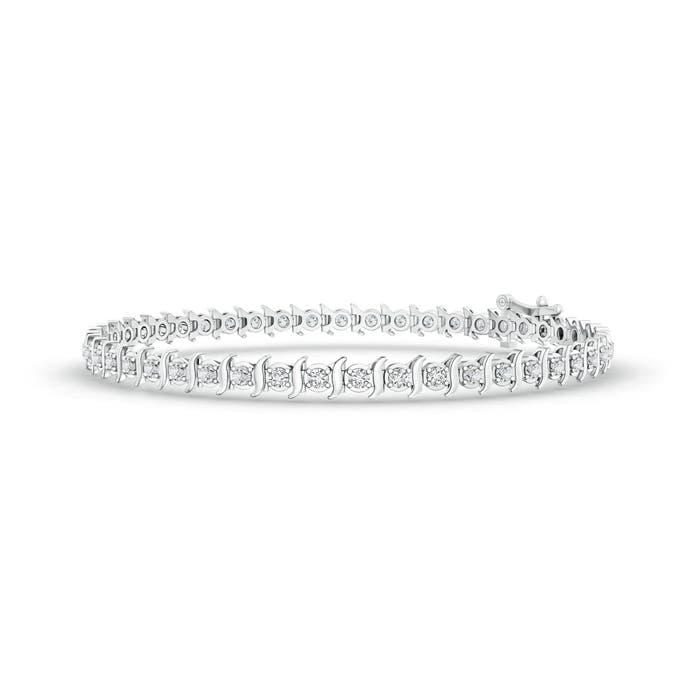Slanted Curl Block Harmony Diamond Tennis Bracelet