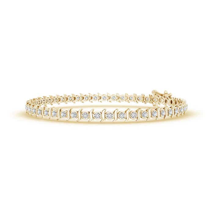 Slanted Curl Block Harmony Diamond Tennis Bracelet
