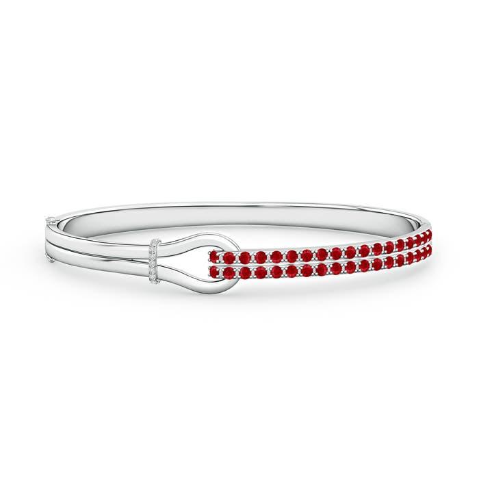 Encrusted Interlocking Love Knot Ruby Bracelet