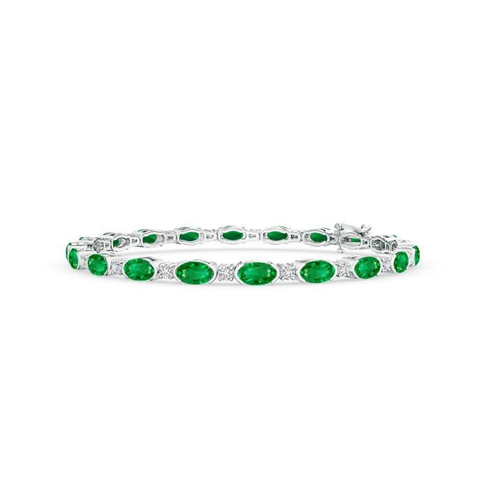 Semi Bezel Oval Emerald and Diamond Tennis Bracelet