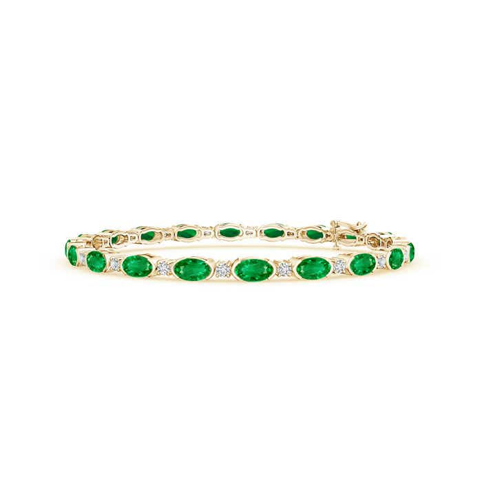 Semi Bezel Oval Emerald and Diamond Tennis Bracelet