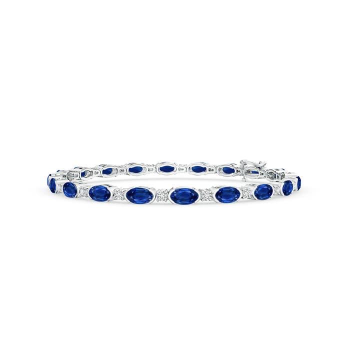 Oval Blue Sapphire and Diamond Tennis Bracelet