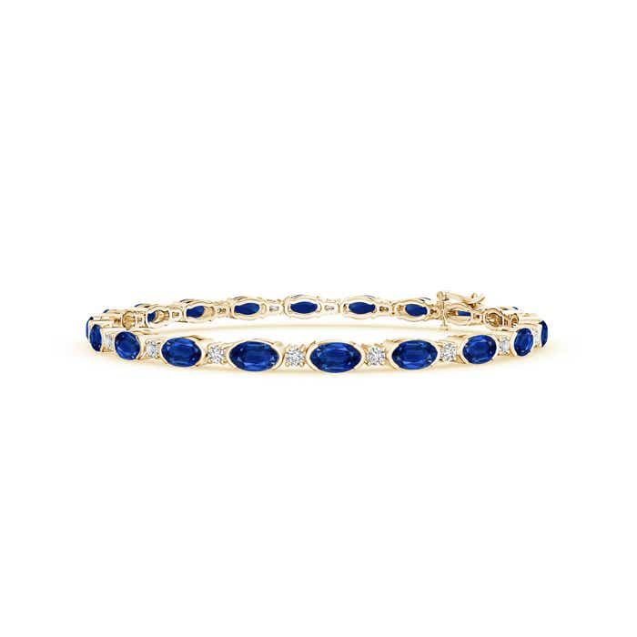 Oval Blue Sapphire and Diamond Tennis Bracelet