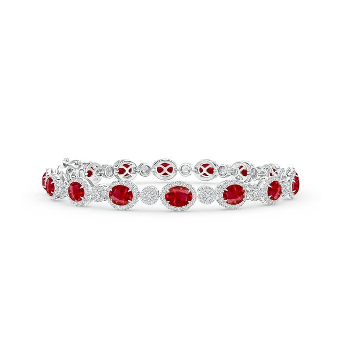 Claw Set Oval Halo Ruby and Diamond Tennis Bracelet