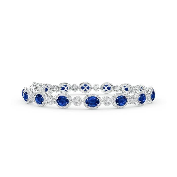 Claw Set Oval Halo Sapphire and Diamond Tennis Bracelet