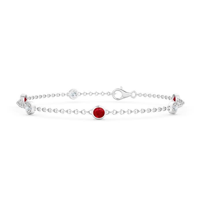 Bezel Set Ruby and Diamond Station Bracelet with Chain