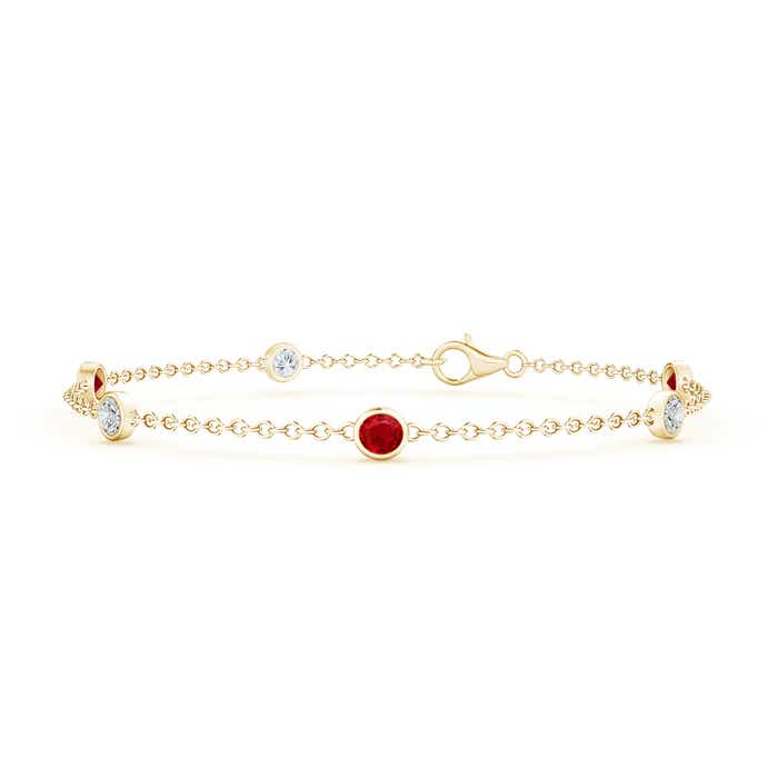 Bezel Set Ruby and Diamond Station Bracelet with Chain