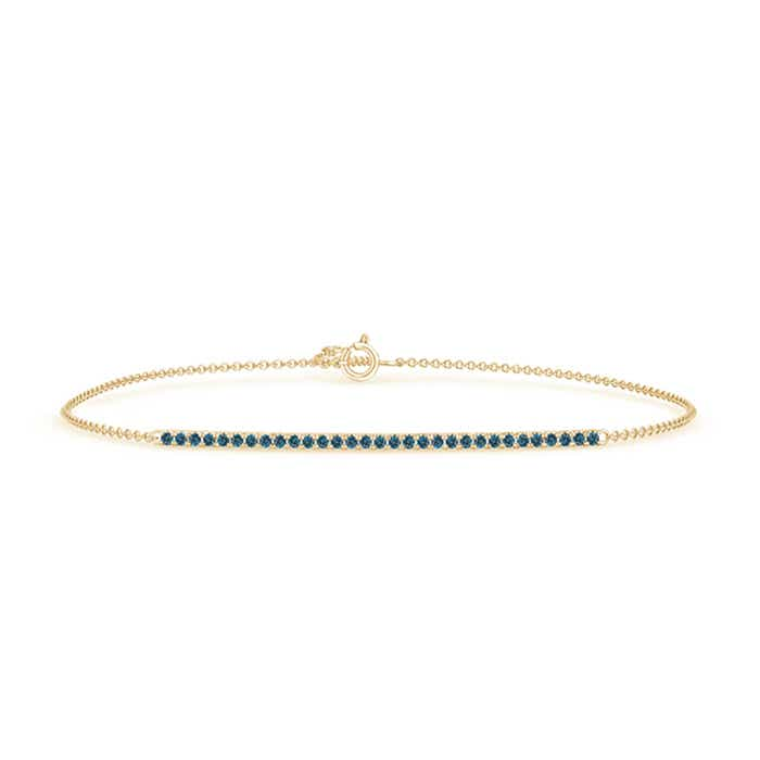 Prong Set Studded Enhanced Blue Diamond Bar Bracelet