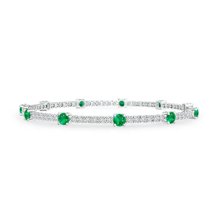 Prong Set Diamond and Emerald Station Bracelet