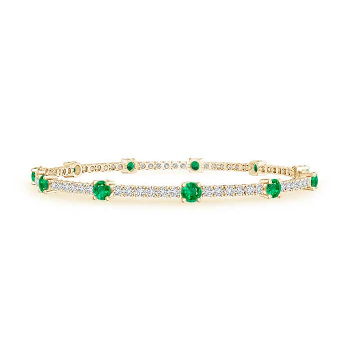 Prong Set Diamond and Emerald Station Bracelet
