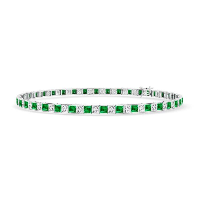 Princess Cut Diamond and Emerald Tennis Bracelet