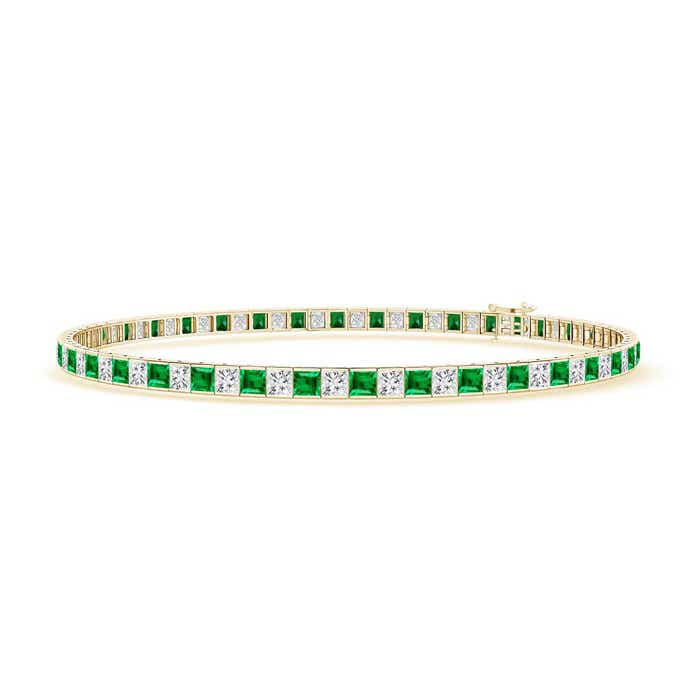 Princess Cut Diamond and Emerald Tennis Bracelet