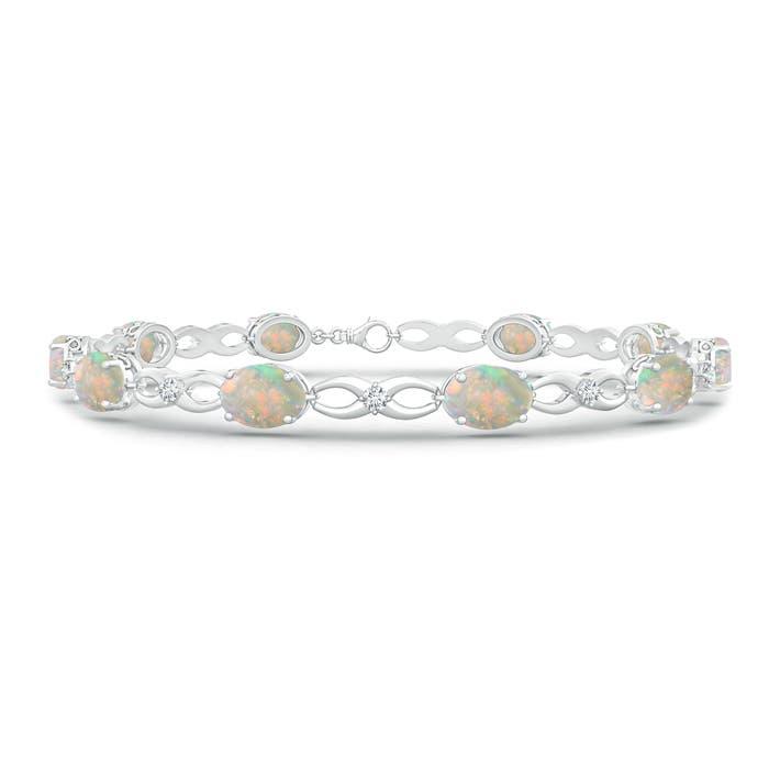 Oval Opal and Diamond Infinity Link Bracelet