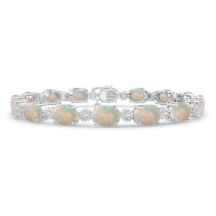 Prong Set Oval Opal Tennis Bracelet with Illusion Diamonds