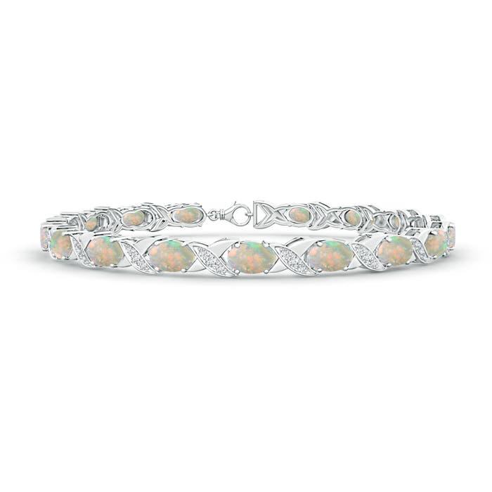 Classic Oval Opal and Diamond XOXO Link Bracelet