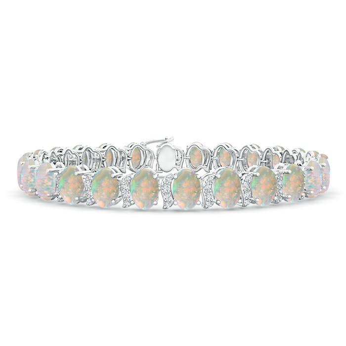 Oval Shaped Opal Tennis Bracelet with Swirl Diamond Links